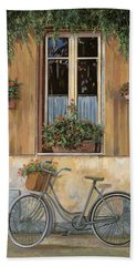 Beach Towel featuring the painting La Bici by Guido Borelli