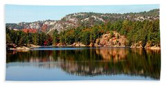 Beach Sheet featuring the photograph La Cloche Mountain Range by Debbie Oppermann