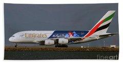 La Dodgers A380 Ready For Take-off At Sfo Beach Towel