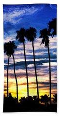 La Jolla Silhouette - Digital Painting Beach Sheet