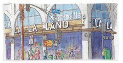 La La Land And Marshalls Stores In Hollywood Blvd., Hollywood, California Beach Towel
