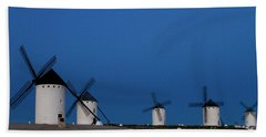 Beach Towel featuring the photograph La Mancha Windmills by Heiko Koehrer-Wagner