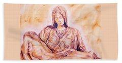 La Pieta By Michelangelo Beach Sheet