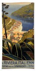La Riviera Italienne Vintage Travel Poster Restored Beach Towel
