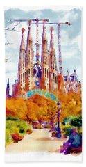 La Sagrada Familia - Park View Beach Towel by Marian Voicu