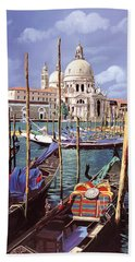 Beach Towel featuring the painting La Salute by Guido Borelli