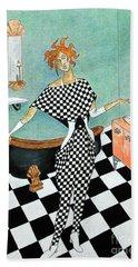 La Toilette -- Woman In Whimsical Art Deco Bathroom Beach Sheet