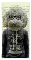 Labradoodle Dog Portrait Art Beach Towel