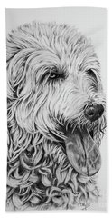 Beach Towel featuring the drawing Labradoodle by Terri Mills