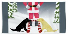 Labs Tug Santa Scarf Beach Towel