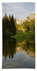 Lac De Fontaine Reflections Beach Towel