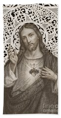 Lace Card Depicting The Sacred Heart Of Jesus Beach Towel