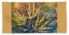 Beach Towel featuring the painting Lace Leaves by Nancy Jolley