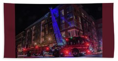 Ladder Truck Deployed At Night Beach Sheet by Jeff at JSJ Photography