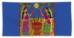 Beach Towel featuring the digital art Ladies Crushing Chili Peppers by Latha Gokuldas Panicker