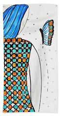 Lady And Butterfly Beach Towel