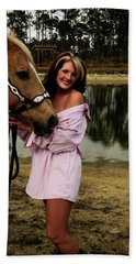 Lady And Her Horse Beach Towel