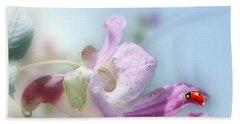 Lady Bug On Flower Beach Sheet