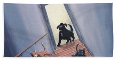 Lady Chases The Cats Down The Stairs Beach Towel