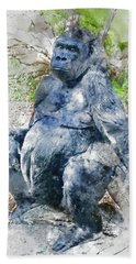 Lady Gorilla Sitting Deep In Thought Beach Towel