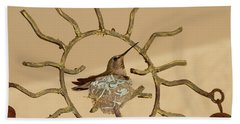 Lady Hummingbird On Her Nest Beach Sheet