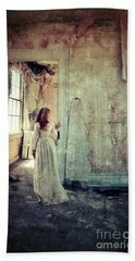 Lady In An Old Abandoned House Beach Towel