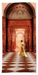 Lady In Golden Gown Walking Through Doorway Beach Sheet
