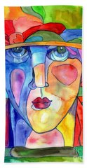 Lady In Hat Watercolor Beach Towel