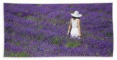 Lady In Lavender Field Beach Towel