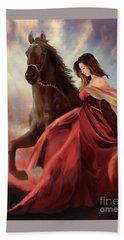 Beach Towel featuring the digital art Lady In Red by Melinda Hughes-Berland