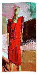 Beach Towel featuring the painting Lady In Red by Nancy Merkle