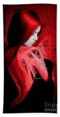 Beach Towel featuring the digital art Lady In Red by Rafael Salazar