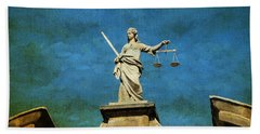Lady Justice. Streets Of Dublin. Painting Collection Beach Towel