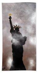 Lady Liberty In Fog Beach Sheet by Joseph Frank Baraba