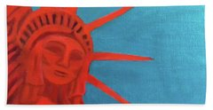 Beach Towel featuring the painting Lady Liberty by Margaret Harmon