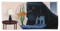 Lady Looks In The Fish Bowl For Mommy And Daddy Beach Towel