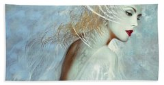 Lady Of The White Feathers Beach Towel