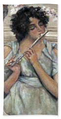 Lady Playing Flute Beach Sheet by Donna Tucker