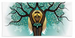 Lady Shaman Tree Beach Towel by Serena King