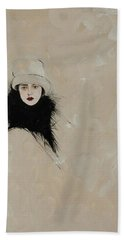 Lady With Black Fur Beach Towel