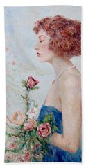 Lady With Roses  Beach Towel