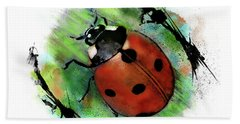 Ladybug Drawing Beach Towel