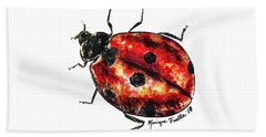 Beach Towel featuring the painting Ladybug by Monique Faella