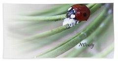 Ladybug On Pine Beach Towel