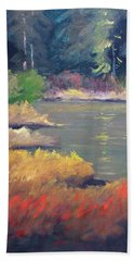 Beach Towel featuring the painting Lagoon by Nancy Merkle