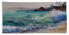 Beach Towel featuring the painting Laguna Beach North View by Sandra Strohschein