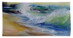 Beach Towel featuring the painting Laguna Beach Wave South View by Sandra Strohschein