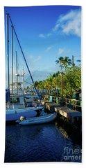 Beach Towel featuring the photograph Lahaina Marina Blue Twilight by Sharon Mau