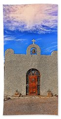 Lajitas Chapel Painted Beach Sheet by Judy Vincent