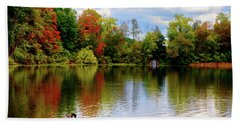 Lake At Forest Park Beach Towel